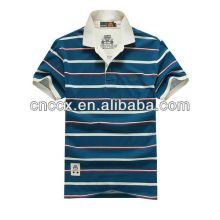 13PT1033 Men's white collar stripped new custom polo shirt design