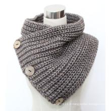 Lady Fashion Coconut Button laine acrylique tricoté écharpe (YKY4385)
