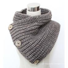 Senhora moda coco botão de lã lenço de malha de acrílico (yky4585)