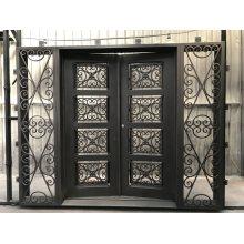 Portas de entrada externas em ferro forjado com vidro temperado