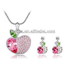 Novas meninas chegada linda maçã pingente conjunto de jóias