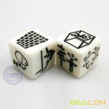 1inch white custom sculpted game dice 25MM