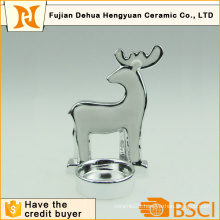 Plating Ceramic Deer Shape Candle Holder for Christmas Decoration