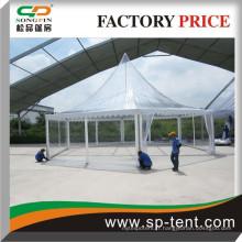 Tente de pagode de style le plus récent de 2015 avec couverture de toit dégagée, tente de pagode hexagonale en tissu transparent en toile de PVC