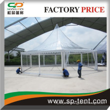 2015 latest style pagoda tent with clear roof cover , transparent PVC fabric hexagon pagoda tent