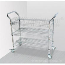 3 Tiers Chrome Metal Wire Storage Shelf Trolley with Upper Handle