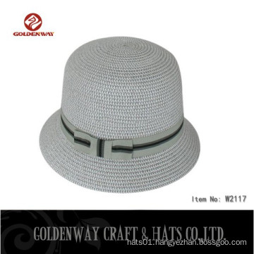 custom Paper Braid Bucket Hat with band can print logo for ladies