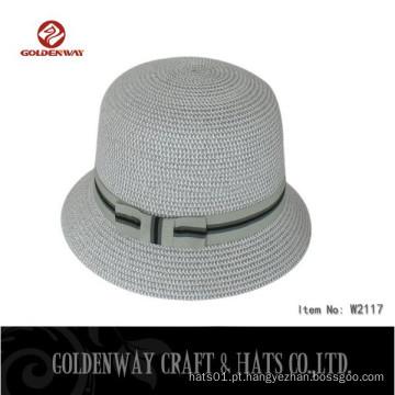 O chapéu de balde de trança de papel personalizado com banda pode imprimir o logotipo para senhoras