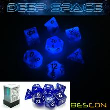 Bescon Super Glow in the Dark Nebel Glitter Polyhedral Würfel Set DEEP SPACE, leuchtende RPG Würfel Set, glühende Neuheit DND Game Dice