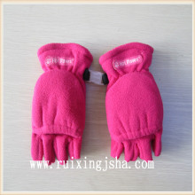 polar fleece half finger gloves with flap