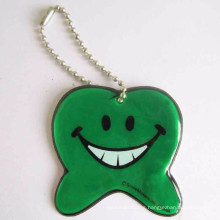 EN13356 promotion lovely tooth shape reflective keychain gifts for children