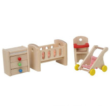 Mobília de madeira do quarto do bebê da casa de boneca d