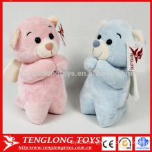 Mignon ours en peluche rose et bleu en peluche