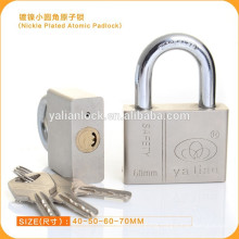 New Arrival Nickle Plated Square Iron padlock with Atom keys