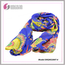 2015 Hot Petal Prints 100% poliéster Fashion Silk Scarf (SNQNG2007)