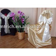 Capa de cadeira de tecido de cetim, capa de cadeira hotel/banquete, faixa de Organza