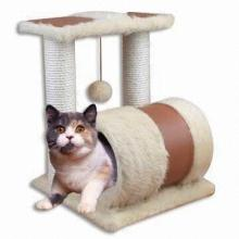 Cat царапин дерева, длинный мех и искусственной кожи
