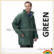 waterproof man\'s long rain jacket workwear