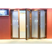 Porte pliante en aluminium à double vitrage haute qualité