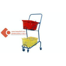 Zinc / Powder Coated Hand Double Basket Shopping Cart IOS C