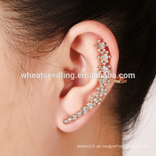 Heiße Verkauf modische Ohrstulpecharme-Diamant-Blumenart und weise rosafarbene geformte Ohrringe