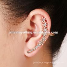Venda quente moda ouvido punho charme diamante moda floral rosa forma brincos