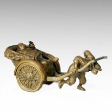 Восточная статуя Традиционная бронзовая скульптура Jinricksha Tple - 004
