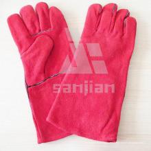 Gant de sécurité de soudure de catégorie d'Ab / Bc de cuir fendu rose avec du CE