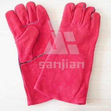 Розовый сплит кожа АВ/BC Ранг сварки защитные перчатки с CE