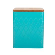 Couvercle en bambou de tasse de café de thé de cuisine bleu