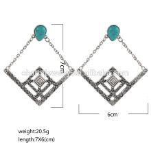 Hochwertige späteste Art- und Weiseweinlese-Türkis-Diamant-Bolzen-Ohrringe für Frau SSEH012