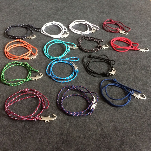 Colorful Nylon Rope Zinc Alloy Shark shape Bracelet