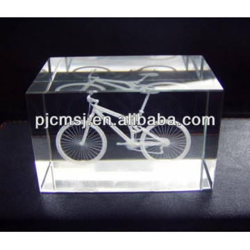 2015 K9 crystal cube with 3D bicycle laser for desk decoration