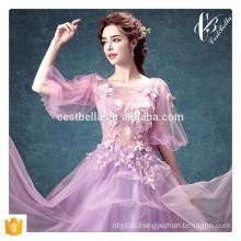 Кружева аппликация бальное платье дизайн 2016 длинные этаж Длина формальные свадебные платья фиолетовый свадебное платье