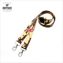 Yellow Sublimation Lanyard with 2 Clips for Military