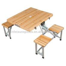 Camping extérieur pliant table de pique-nique en bois