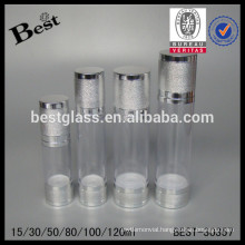 silver cap airless bottle with lid, silver cap airless bottle for cosmetics