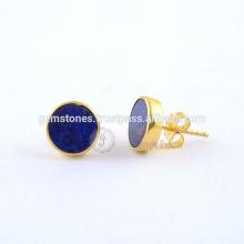Blaue Lapis runde flache Edelstein-Bolzen-Ohrringe, Gold überzogener 925 Sterlingsilber-Bolzen-Ohrring-Schmucksache-Hersteller