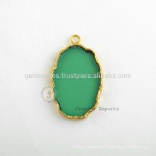 Venta al por mayor esmeralda cuarzo Slice Gemstone Bezel encanto, hecho a mano Micron oro plateado Sterling Silver Bezel Connector y encanto