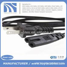 US 2-Prong puerto de enchufe Cable de alimentación Cable adaptador para VCR portátil Ps2 Ps3 Slim