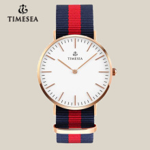Men′s Business Watch with Multi-Color Striped Nylon Strap 72036