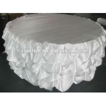 Mantel, paño de mesa hecha a mano, con volantes del mantel del satén de la boda