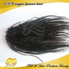 Класс 5А девственница ткачество 100% человеческих волос афро кудрявый волос хвостик парики