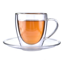Taza y platillo de té del vidrio de Borosilicate de la pared doble de la venta al por mayor caliente al por mayor de Amazon para el Latte del café del té
