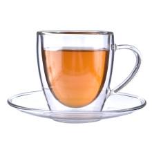 Amazon Venda Quente Personalizado Por Atacado Dupla Parede De Vidro De Borosilicato Copo De Chá e Pires Para Chá De Café Latte