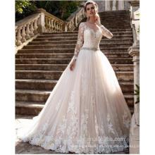 Vestido de noiva Sheer Tulle Back Lace Appliques Robes de mariée Bead Belt Bride Robes Boda Robes de mariée à manches longues CWF2450