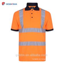 Camisa de polo fluorescente de alta visibilidad reflectante 100% poliéster Birdeye Malla transpirable camiseta de manga corta libre