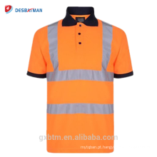 Pólo de segurança de alta visibilidade fluorescente reflexivo 100% Poliéster Birdeye malha respirável livremente manga curta camiseta