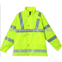 High visibility reflective rain jacket
