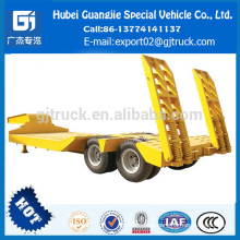 China make low flatbed truck 2 Eje low bed truck trailer Buena calidad wall side truck factory Hace bajo semi trailer nuevo diseño 2 Ejes low bed semi trailer heavy duty pared lado semi trailer fábrica hace cuello de cisne low bed semi trailer